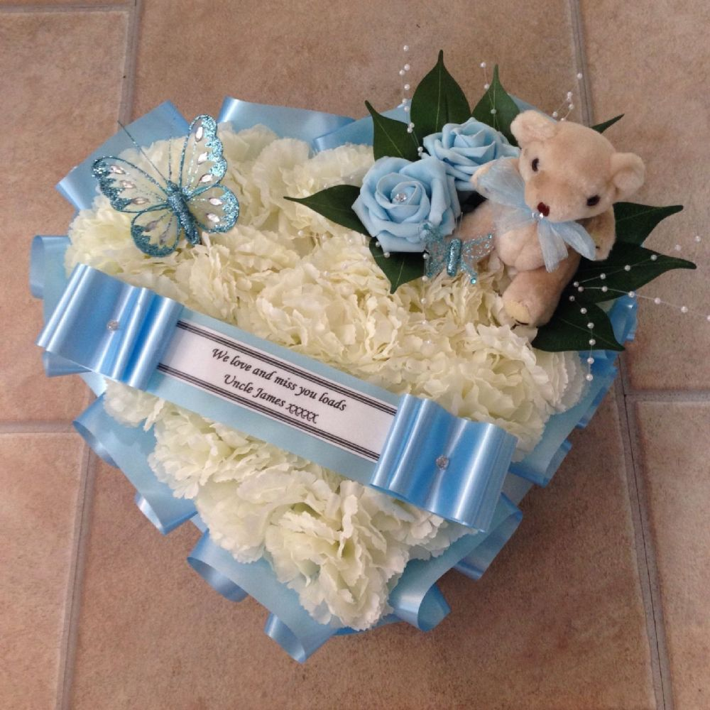 Silk Funeral Flowers Heart Wreath Memorial Tribute Blue